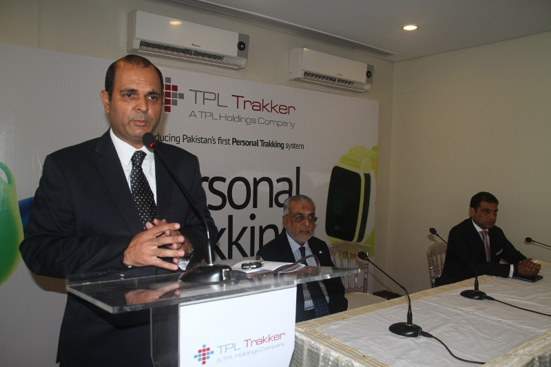 TPL Trakker, a venture of TPL Holdings, has announced the launch of its first personal tracking product 'Personal Trakking (PT)' picture shows: Mr. Ali Kirmani, COO TPL, Mr. Jameel Yousuf, Chairman TPL and Mr. Ali Jameel, CEO, TPL Briefing the media and guest during the launching of Personal Trakker
