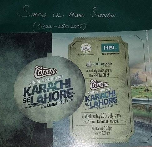 Thanks To Wajahat Rauf For Premiere Invitation