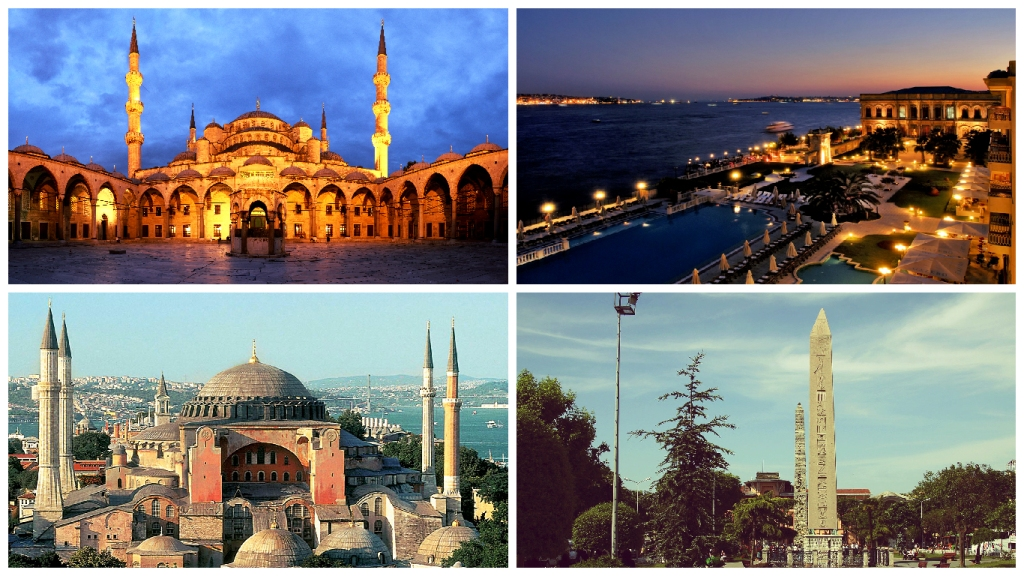 Top to Bottom - Blue Mosque, Ciragan Palace, Hagia Sophia, Hippodrome of Constantinople [2]