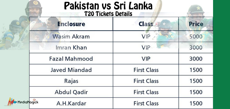 Pakistan vs Sri Lanka T20 Tickets Online Booking